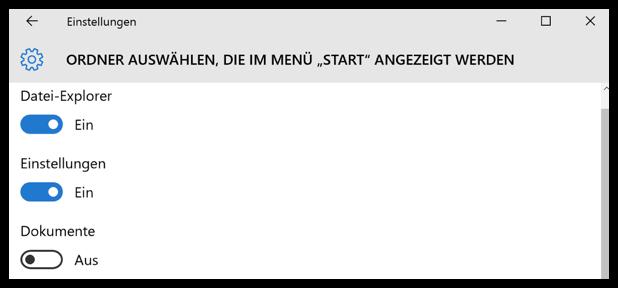 Windows 10 Einstellungen aus dem Startmenü