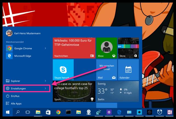 Windows 10 Einstellungen im Startmenü