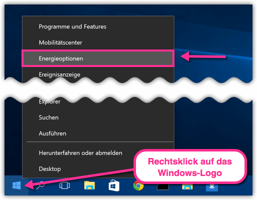 Windows 10 Energieoptionen new
