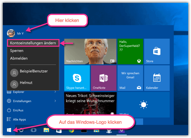 Windows 10 Kontoeinstellungen ändern