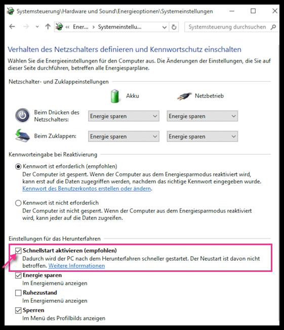 Windows 10 Schellstart aktivieren oder deaktivieren