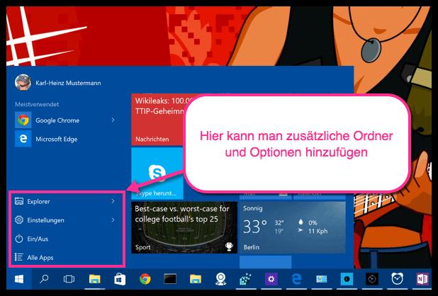 Windows 10 Startmenü Optionen