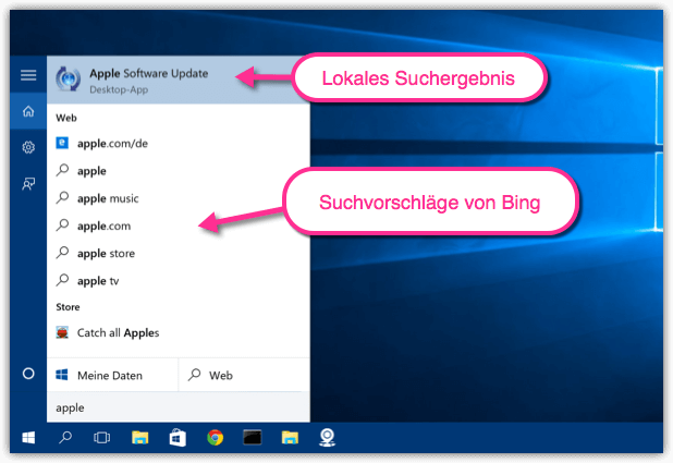 Windows 10 Suche Lokal
