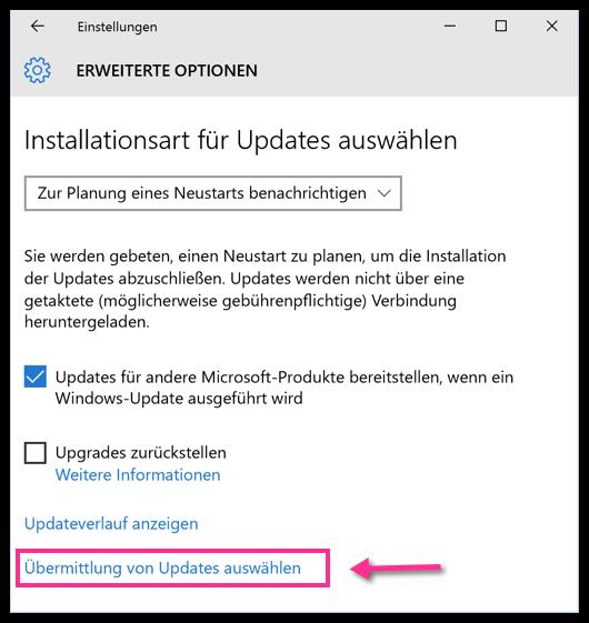 Windows 10 Uebermittlung von Updates auswaehlen