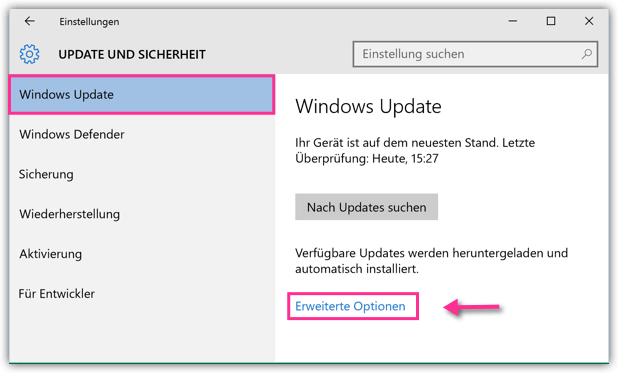 Windows 10 Update erweiterte Optionen