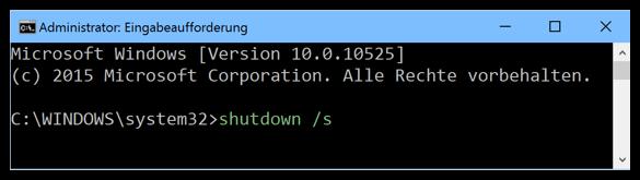 Windows 10 shutdown s