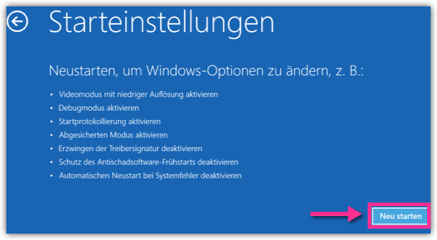 Erweiterter Neustart Windows 10