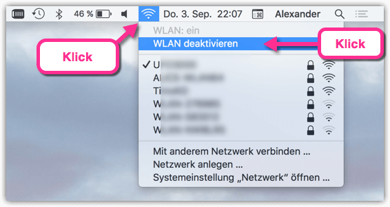 MacBook WLAN Deaktivieren