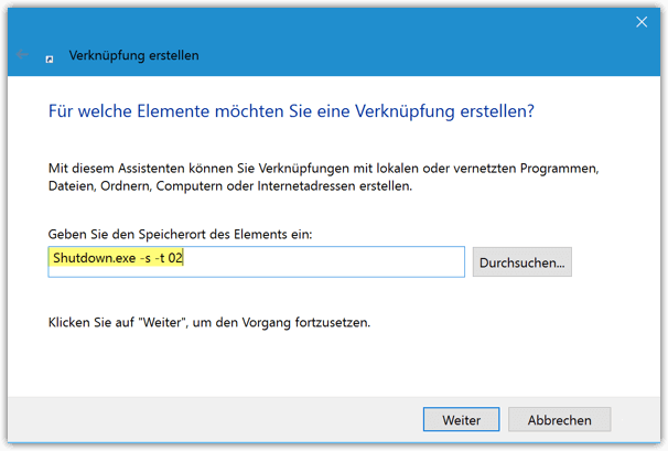 Shutdown Shortcut für Windows 10
