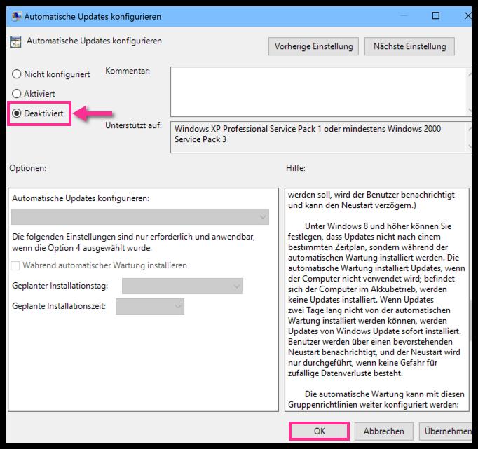 Windows 10 Automatische Updates wurden dauerhaft deaktiviert