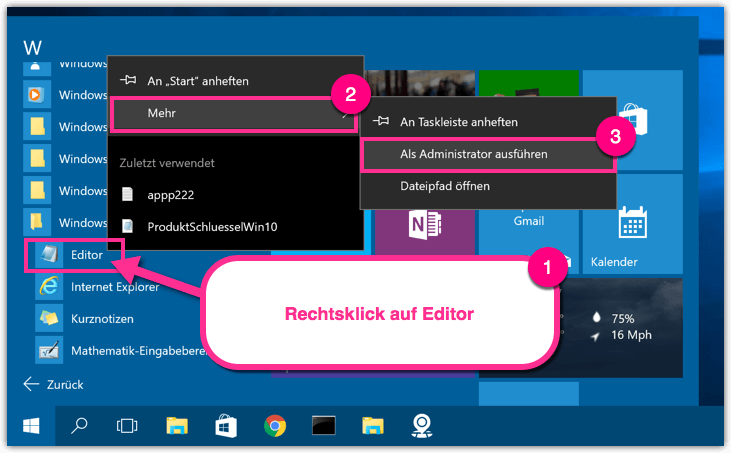 Windows 10 Editor als Admin