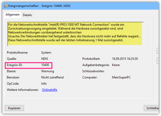 Windows 10 Ereignis Warnung