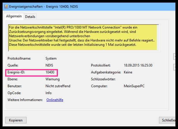 Windows 10 Ereignis Warnung