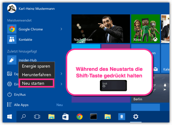 Windows 10 Erweiterter Start