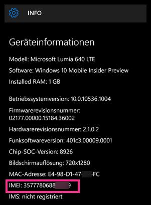 Windows 10 Lumia EMEI Nummer