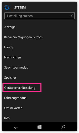 Windows 10 Mobile Geraeteverschluesselung