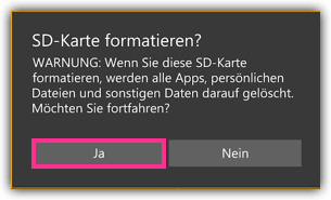 Windows 10 Mobile SD Karte Formatieren