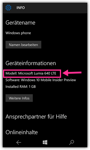 Windows 10 Mobile Smartphone Modell anzeigen