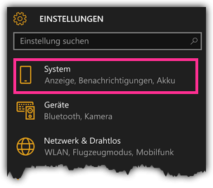 Windows 10 Phone - Einstellungen - System