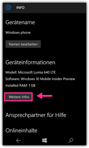 Windows 10 Phone Weitere Infos