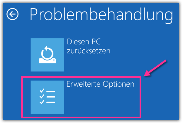 Windows 10 Problembehandlung Erweiterte Optionen
