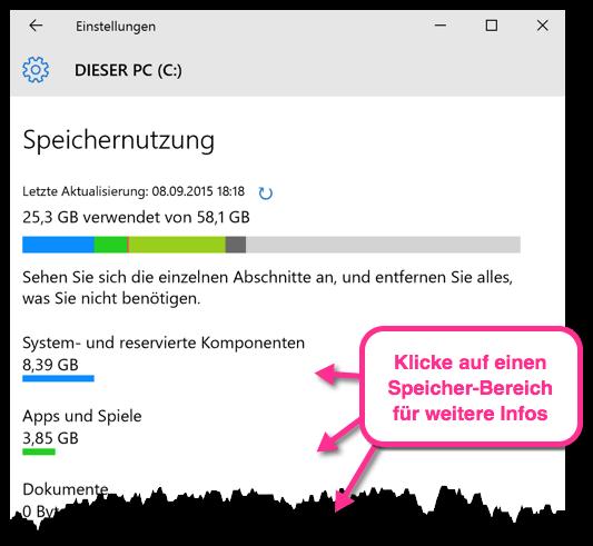 Windows 10 Speichernutzung Grafisch