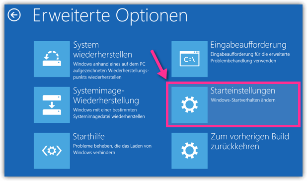 Windows 10 Starteinstellungen