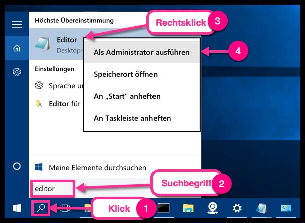 Windows 10 Suchbegriff Editor in der Taskleiste