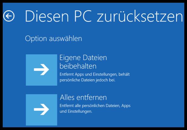 Windows 10 diesen PC zuruecksetzen
