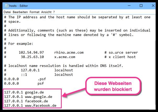 Windows 10 gesperrte webseiten via hosts-Datei