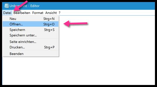 Windows 10 mit dem Editor Datei öffnen