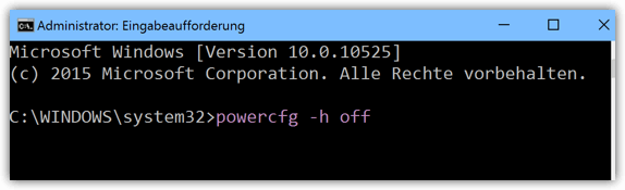 Windows 10 powercfg -h off
