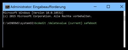bcdedit :deletevalue {current} safeboot
