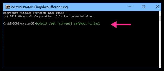 bcdedit :set {current} safeboot minimal