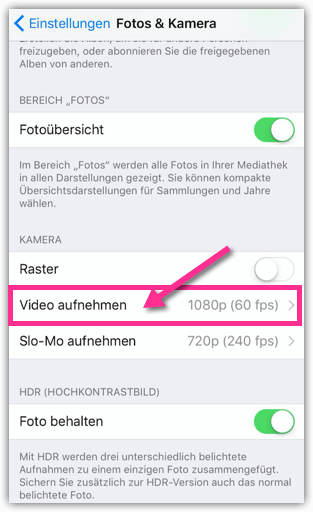 iOS Foto-Kamera Video-Einstellungen