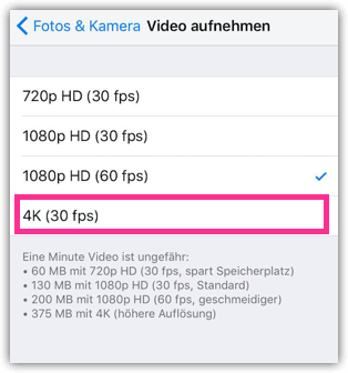 iPhone 6s 4K aufnehmen
