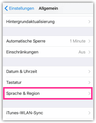 iPhone 6s Sprache und Region