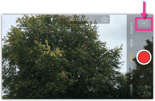 iPhone Bestätitgung dass 4k Video