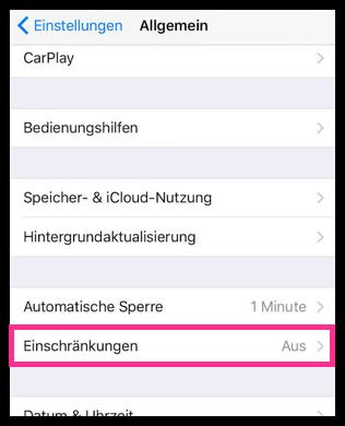iPhone Einschränkungen