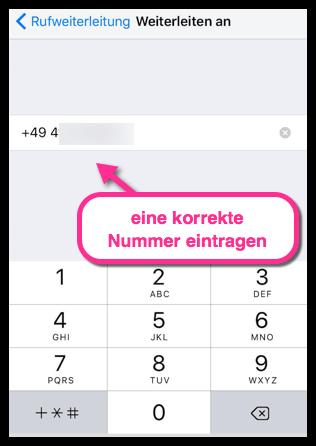 iPhone Nummer für Weiterleitung eintragen