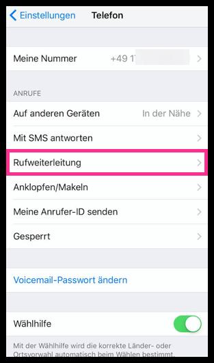 iPhone Rufweiterleitung