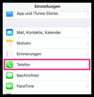 iPhone Telefon Einstellungen