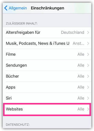 iPhone Webseites Sperren