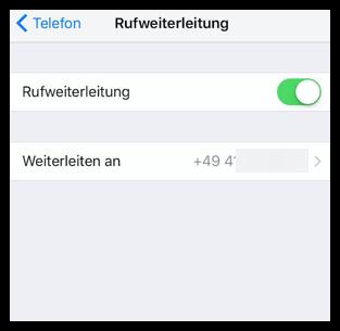 iPhone neue Anrufweiterleitungsnummer
