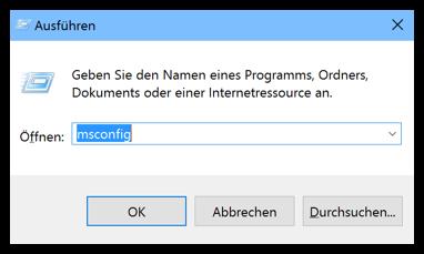 msconfig in Windows 10