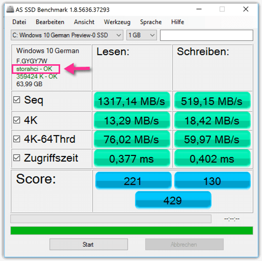 AS SSD Benchmark storeAHCI