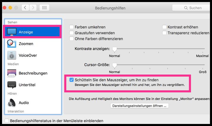 Cursor Maus Schütteln OSX