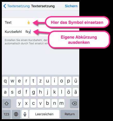 Das Mittelfingersymbol für iPhone WhatsApp