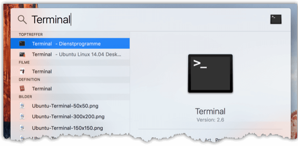 Mac Terminal öffnen mit Spotlight