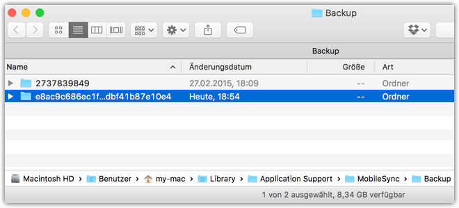 Mac iPhone Backup Location in Finder